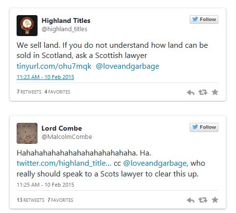 highland titles souvenir land plot sale tweets